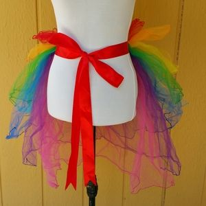 Organza rainbow bustle with red satin ribbon tie